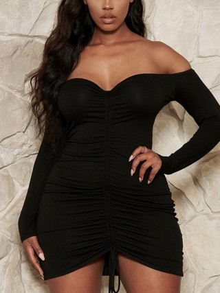 Sweet Black Long Sleeve Off Shoulder Bodycon Dress For Playing