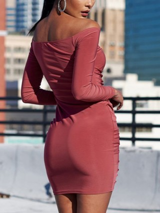 Comfy Red Mini Length Bodycon Dress Solid Color Form Fitting