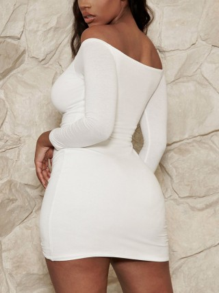 Fabulous White Bodycon Dress Solid Color Drawstring Preventing Sweat