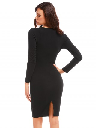 Premium Black V-Collar Pleated Trim Bodycon Dress Fashion