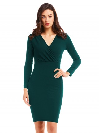 Relaxed Dark Green Midi Length Bodycon Dress High Waist Online