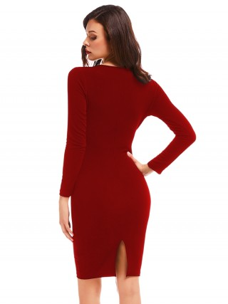 Delightful Full Sleeve Plunge Neck Bodycon Dress Contouring Sensation