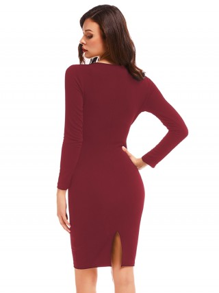 Slender Red Deep V-Neck Full Sleeve Bodycon Dress Post Surgery