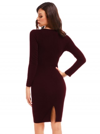 Socialite Wine Red Solid Color Bodycon Dress Ruched Glamor