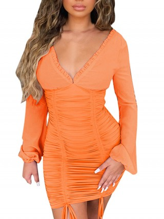 Exquisite Orange Solid Color Drawstring Bodycon Dress Comfort Women