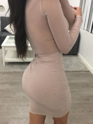Fitted Apricot Full Sleeve Bodycon Dress High Waist Sexy Fashion