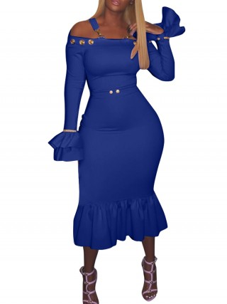 Super Faddish Blue Sling Off-Shoulder Bodycon Dress Hot Sale