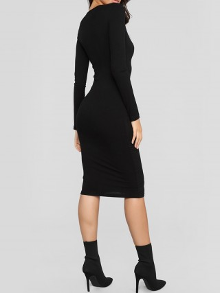 Fitted Black Front Button Full Sleeve Bodycon Dress On-Trend Fashion