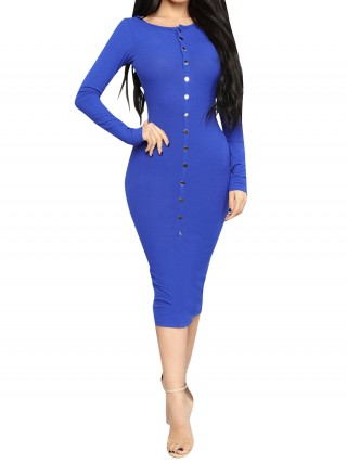 Women Blue Round Neck Bodycon Dress Long-Sleeved Cheap Online