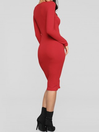 Retro Red Bodycon Dress Solid Color Round Collar Leisure Time