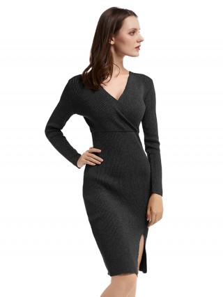 Distinctive Black Solid Color Bodycon Dress Midi Length Modern Fashion