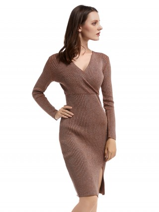 Romantic Khaki High Rise Bodycon Dress V Neck Regular Fit