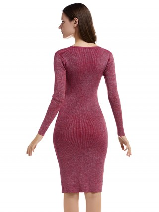 Chic Wine Red Sequin Side Slit Bodycon Dress Outdoor