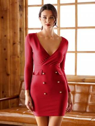 Distinctive Red Full Sleeves Bodycon Dress Deep V neck For Vacation