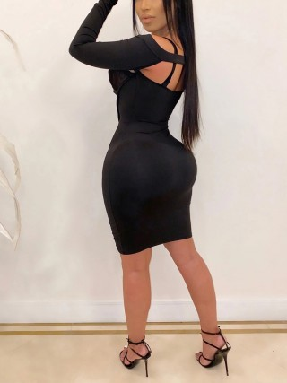 Exclusive Black Bodycon Dress Hollow Out Sheer Mesh Chic Trend