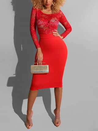 Fitness Red Patchwork Bodycon Dress Round Collar Woman