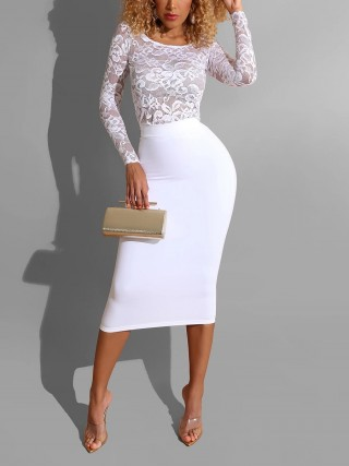 Ethereal White Floral Lace High Waist Bodycon Dress Form Fit