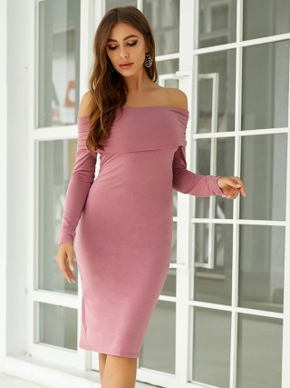 Particularly Rose Red Plain Long Sleeves Bodycon Dress Loose Fit