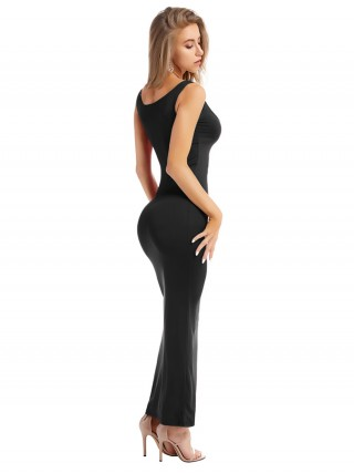 Explicitly Chosen Black Bodycon Dress Square Neck Maxi Length