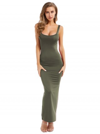Exquisite Green Maxi Length Strap Bodycon Dress Fashion For Women