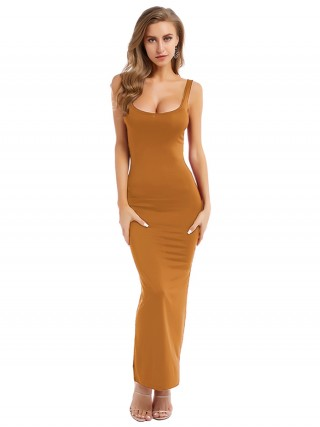Graceful Orange Strap Solid Color Bodycon Dress Elegance