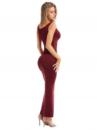 Dramatic Wine Red Solid Color Bodycon Dress Sling Ideal Choice