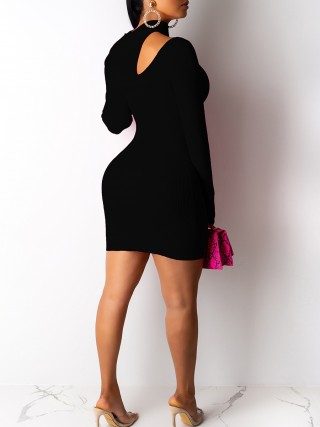 Glamorous Black Long Sleeve Cutout Bodycon Dress Elegance