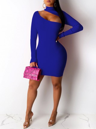 Extra Sexy Blue Cut Out Bodycon Dress Turtle Neck Breath