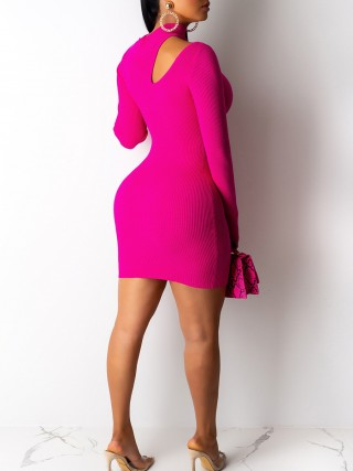Elegant Rose Red Turtleneck Bodycon Dress Solid Color