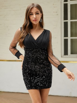 Fantasy Black Sequin Sheer Mesh Bodycon Dress Feminine