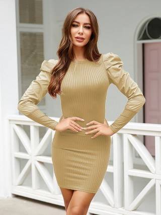 Unique Khaki Round Neck Bodycon Dress Full Sleeve