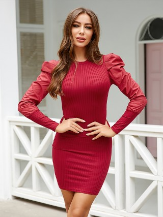 Glitzy Red Puff Sleeve Bodycon Dress Mini Length