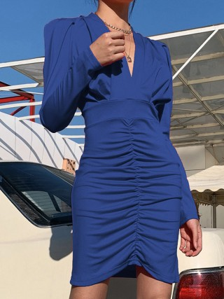 Blue Plain Ruched Bodycon Dress Puff Sleeves Nice Quality