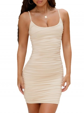 Enthralling Khaki Lace-Up Bodycon Dress Mini Length Strap Romance