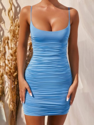 Pullover Blue Slender Strap Plunge Collar Bodycon Dress Cheap Online