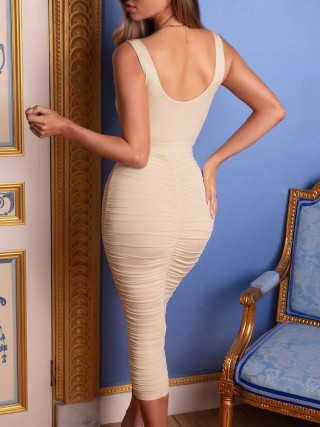 Catching Khaki Wide Strap Bodycon Dress Pleated Backless High Quality