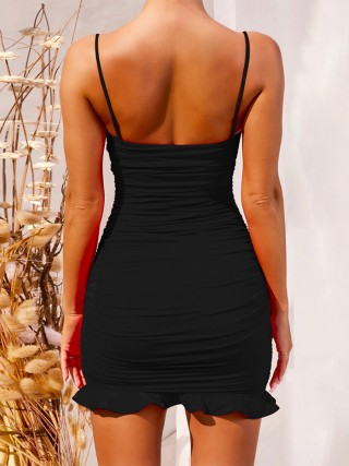 Figure-Hugging Black Solid Color Spaghetti Strap Bodycon Dress Breath
