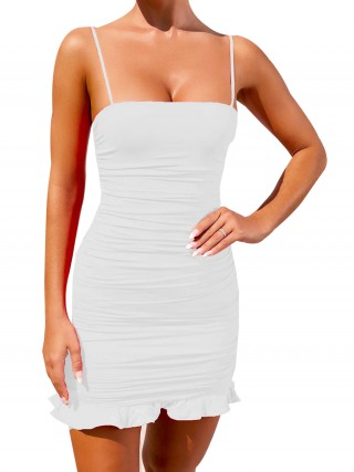 Fascinating White Bodycon Dress Pleated Mini Length Comfort Fashion