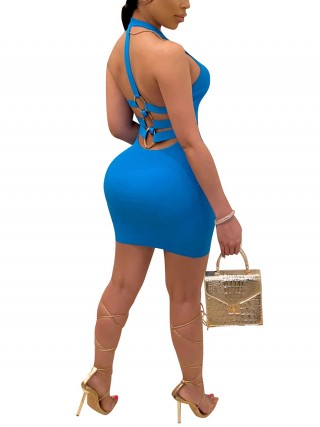 Versatile Blue Back Strap Bodycon Dress Metal Ring Shop Online