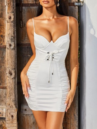 Trendy White Adjustable Strap Solid Color Bodycon Dress Classic Fashion