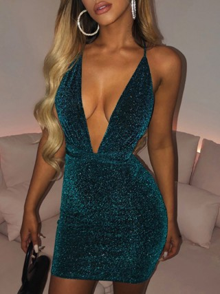 Blue Open Back Cross Mini Sequin Bodycon Dress Cheap Wholesale