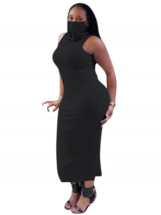 Glam Black High Neck Bodycon Dress Plain Mask Ladies Elegance