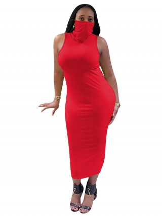 Wonderful Red Sleeveless Turtleneck Dress With Mask Fashion Trend