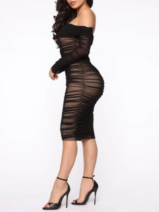 Black Bodycon Dress Off Shoulder Sheer Mesh High Quality