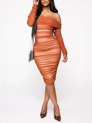 Orange Pleated Zipper Midi Length Bodycon Dress Snug Fit