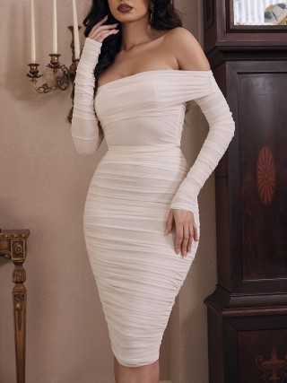 White Full Sleeve Bare Shoulder Midi Dress For Holiday