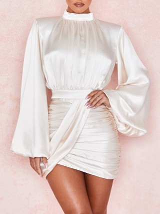 White Mini Dress Ruched Zipper Irregular Hem New Fashion