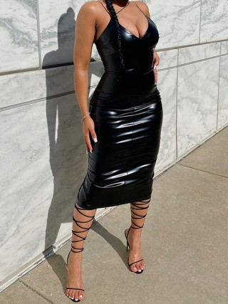 Black Leather Slit V Collar Maxi Dress High Quality
