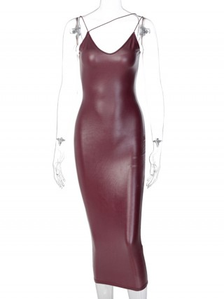 Wine Red Maxi Length Stretch Sling Bodycon Dress Women Outfits