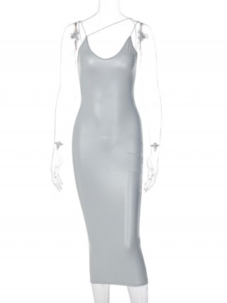 Silver Irregular Strap Zipper Leather Bodycon Dress Weekend Fashion